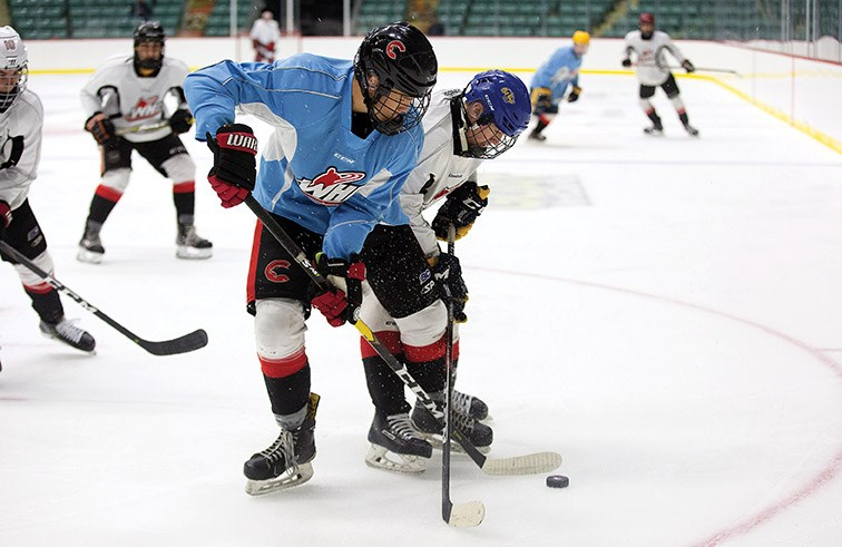 Team Chara player Wyatt Milner (blue) and Team Byfuglien player Brandan Tronchin battle the loose puck on Sunday afternoon at CN Centre as part of Prince George Cougars training camp. Citizen Photo
