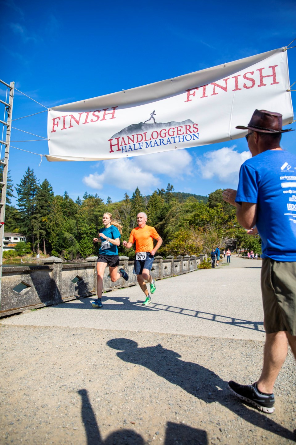 A couple of last year's top finisher's crossing the Causeway finish line.