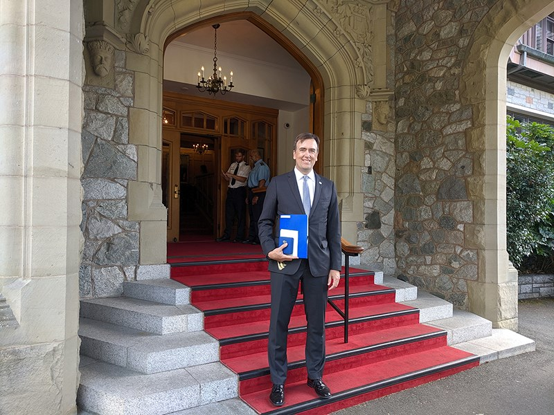 Michael Coyle was honoured with the Sovereign Medal at Government House in Victoria Thursday.