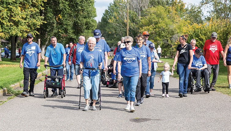 Roughly 100 participants of all ages took part in the Parkinson's Superwalk around Lheidli T'enneh Memorial Park on Saturday afternoon. The walk is meant to help raise funds and bring awareness to the disease that affects more than 13,000 people in B.C. Citizen Photo by James Doyle