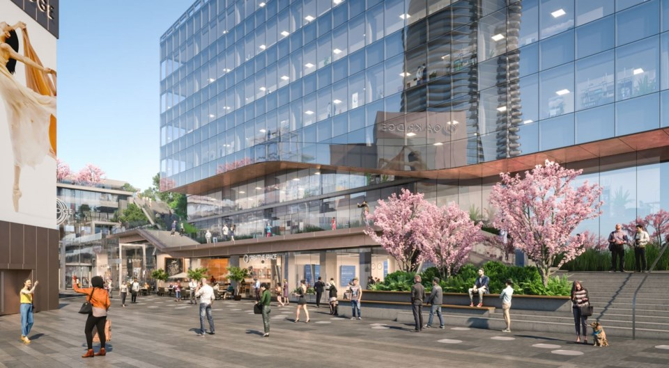 View from transit Plaza looking southwest. Rendering Henriquez Partners Architects