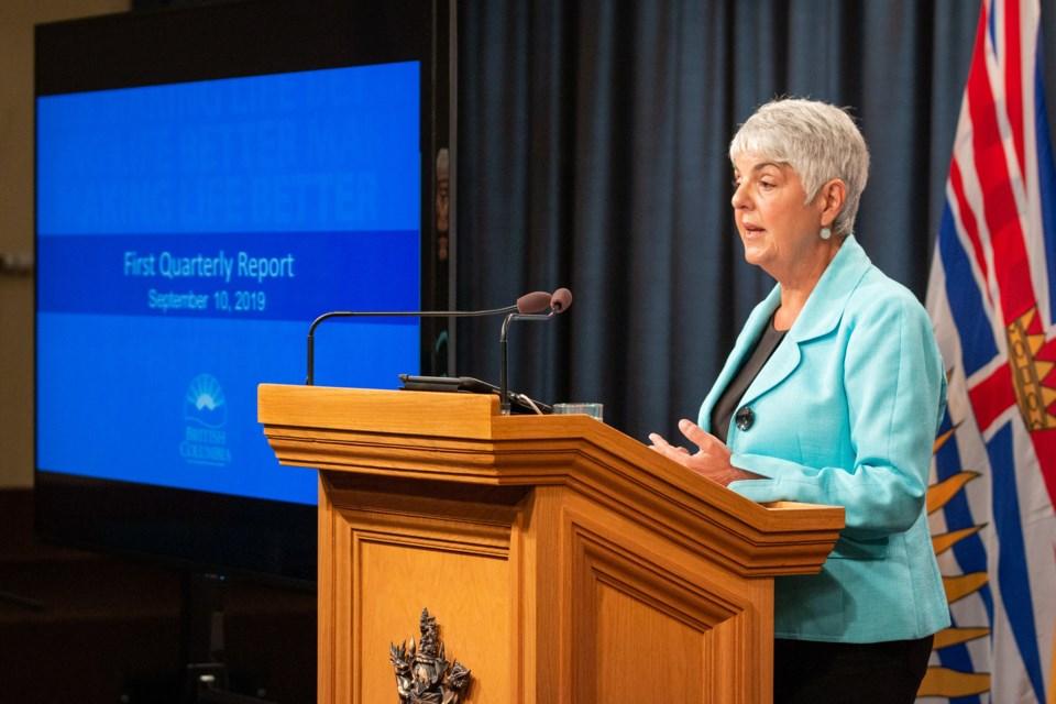 Finance minister Carole James delivers the province's quarterly economic update Sept. 10. Photo Prov
