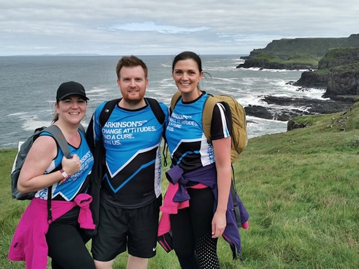 Debi Turner, left, and companions, during the Causeway Coast Challenge on the Giant's Causeway in No