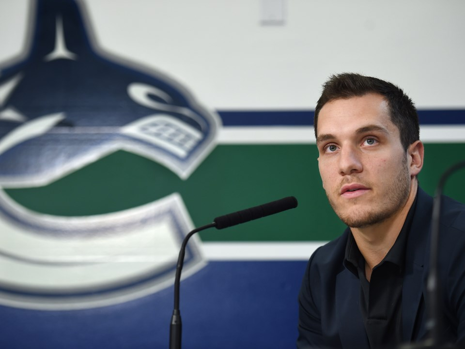 Bo Horvat answers questions from the media at the Canucks 2019 media day.