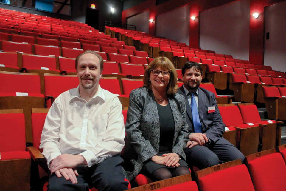 Oliver Hachmeister, Connie Surerus, and Baptise Marcere take a seat in the newly renovated theatre at the North Peace Cultural Centre, Sept. 21, 2019.