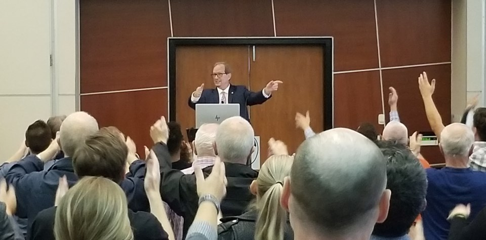 Ozzie Jurock got his audience up and moving before his final presentation. Photo Michael Geller