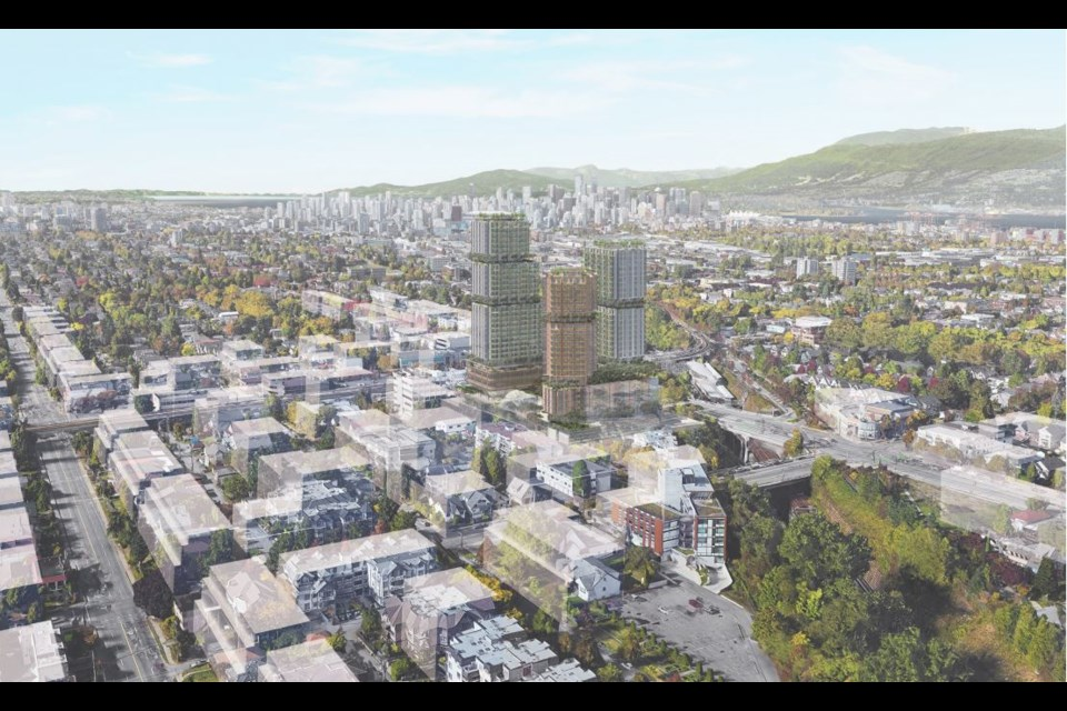 Aerial view of the proposed project looking northwest toward downtown. Rendering Perkins and Will