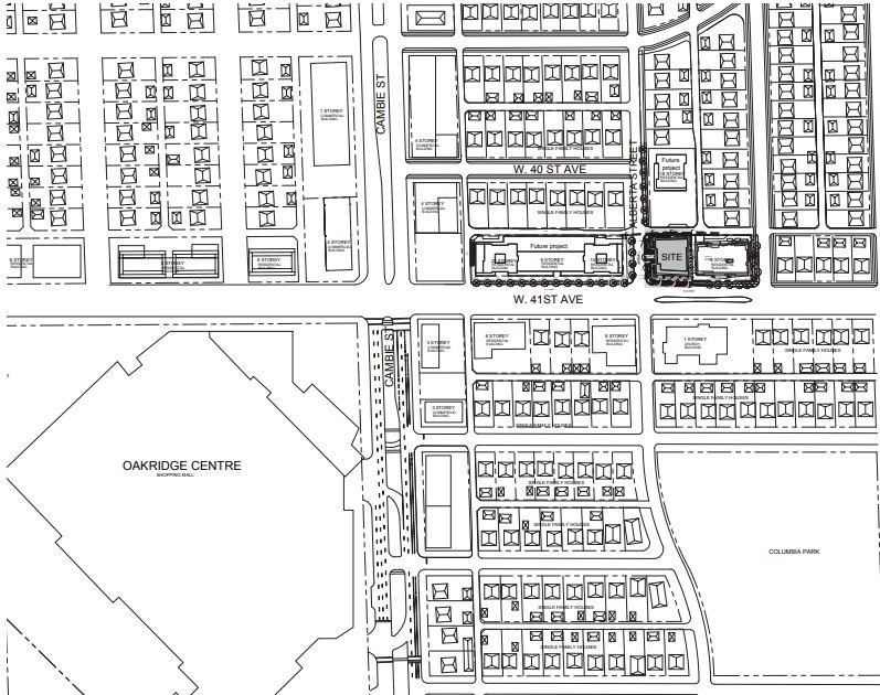 Site context for 325 to 343 West 41st Ave.
