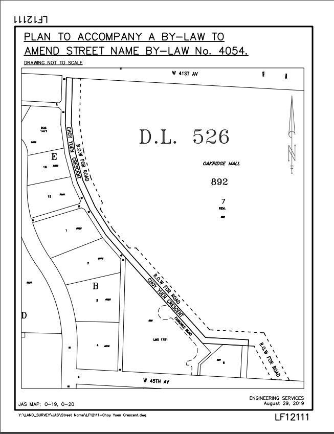 Location of new street.