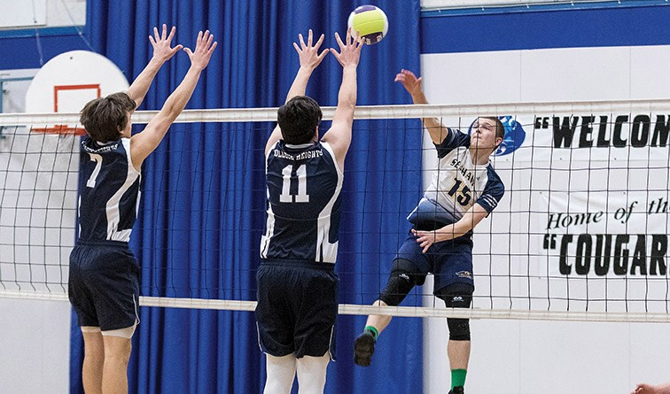 Centennial Christian School Seahawks player Jacob Ringma spikes the ball against College Heights Cougars blockers Theo Halka (11) and Isaiah Ohori (7) on Saturday evening at the College Heights Secondary gymnasium. The two teams met in the championship game of the Jon Bragg Memorial Senior Boys Volleyball Tournament. Citizen Photo by James Doyle