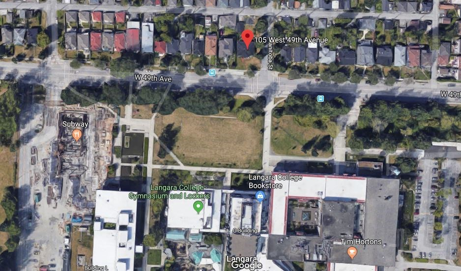 The proposed development site is at the corner of West 49th and Manitoba.
