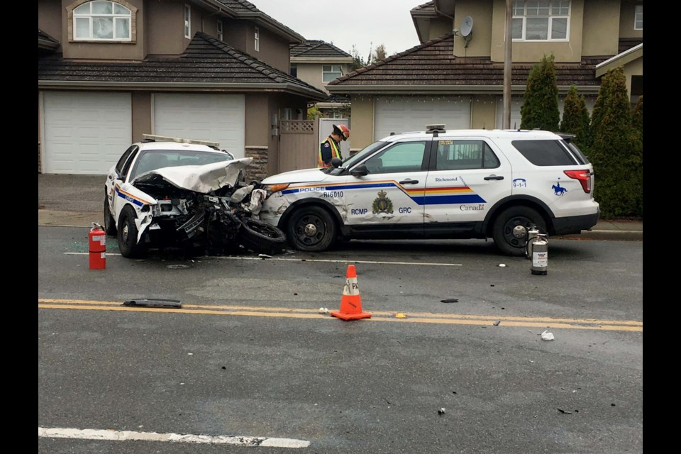 This photo shows how one police cruiser appears to have rammed head-on into another. Bob Williamson photo