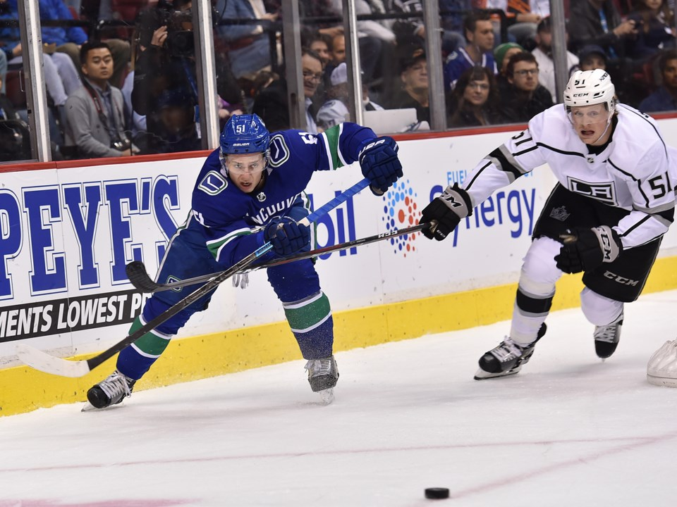 The Canucks Troy Stecher plays the puck away from a member of the Los Angeles Kings