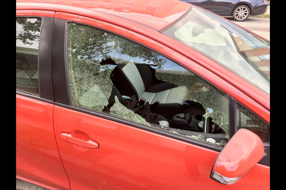 Break-ins to vehicles in Vancouver reached 12,312 in the first nine months of the year. Pictured is a car broken into Sept. 20 in Mount Pleasant. Photo Mike Howell