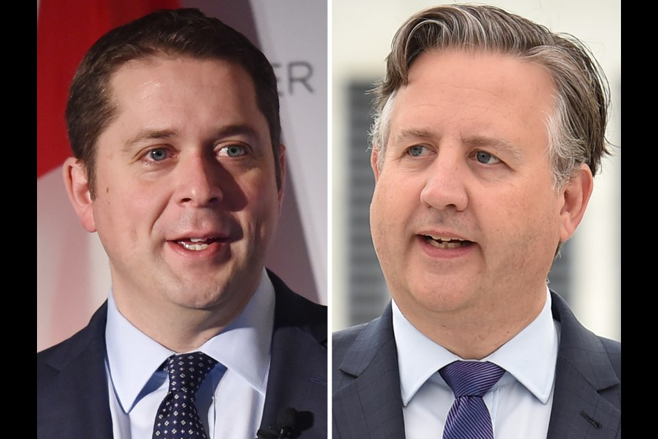Conservative leader Andrew Scheer and his party's platform was the target Wednesday of Mayor Kennedy Stewart. Photo Dan Toulgoet
