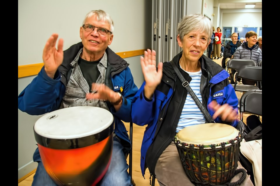 The 2019 Seniors Festival included a drumming workshop with Lyle Povah with Drumming and Health, which included audience participation. Ray and Ann Roberts were among the folks who took part.