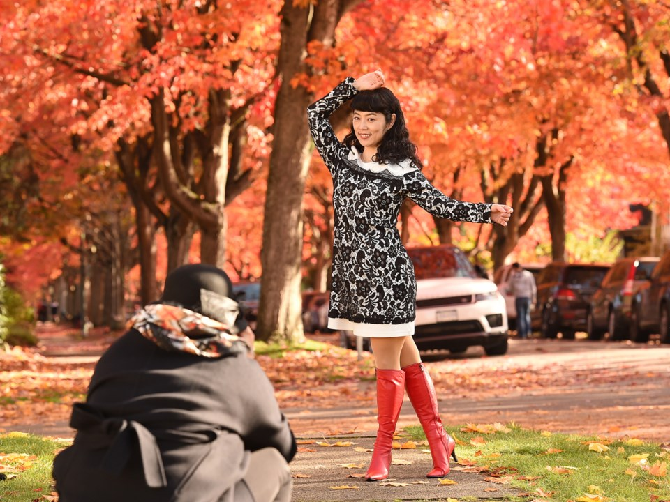 STRIKE A POSE: The vibrant fall colours along Cambridge Street in the East Vancouver neighbourhood o