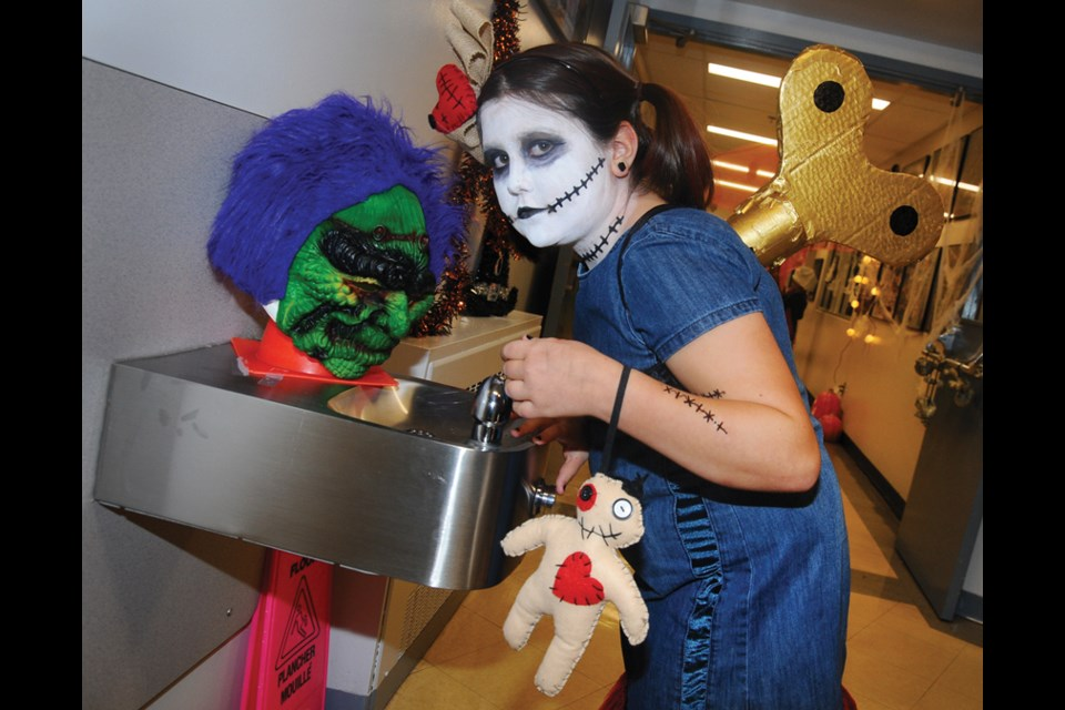 Chartwell Elementary fourth-grader Inez Jones as a creepy windup doll.