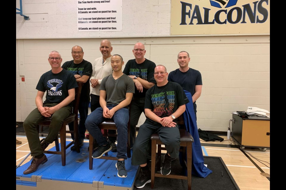 In support of two members of the Ferris elementary community who're battling cancer, seven male teachers agreed to have their heads shaved, while seven female teachers agreed to be fed pudding by a partner while blindfolded, in front of the school. In four days, the school and staff raised $2,860 for the Terry Fox Foundation. Photo submitted