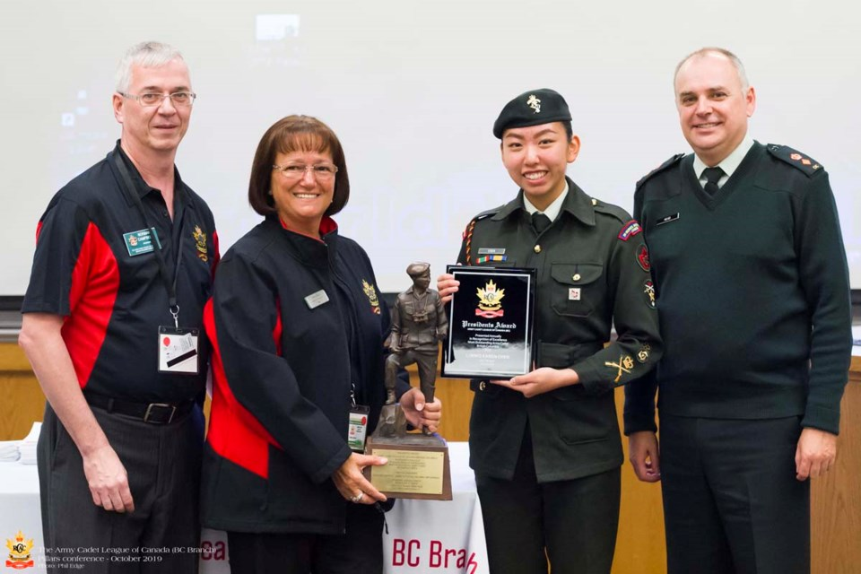 From left, Norman Campbell (president ACLC BC Branch), Cathy Bach (national president ACLC), Master Warrant Officer Karen Chen, Lieutenant-Colonel Neville Head (Regional Cadet Support Unit Pacific). Photo submitted