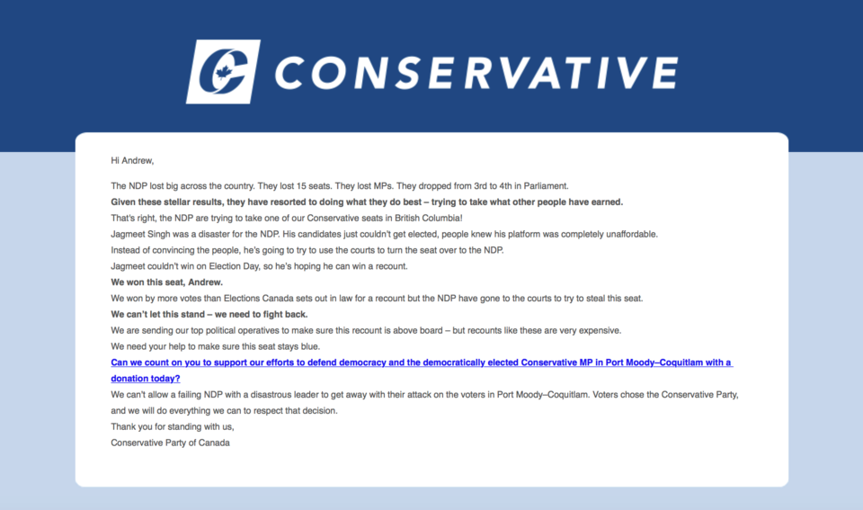 Fundraising letter sent from the Conservative Party of Canada to Andrew Brooke.