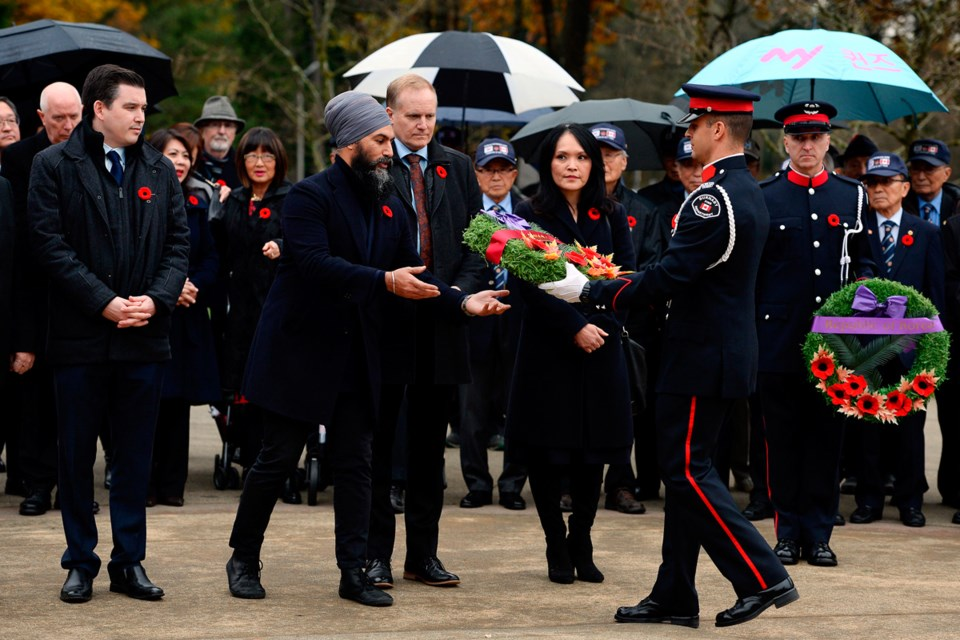 Various federal, provincial and municipal politicians, members of the diplomatic corps, Veterans of the Korea War and members of the Korean Community of BC, friends and supporters were in attendance at the annual Remembrance Day Ceremony on Nov. 11, 2019 at the Ambassador of Peace Korean War Memorial in Central Park. Jennifer Gauthier photos