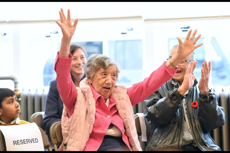Ritsu Saimoto, 86, was a grade one student at the Vancouver Japanese Language School in 1940. She returned to the school Wednesday to celebrate its National Historic Site designation by Parks Canada.