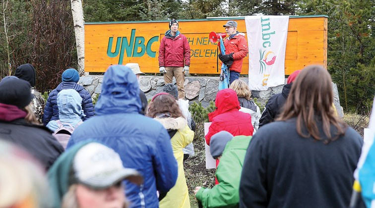 Supporters speak during the UNBC Faculty Association's rally that was held at noon on Friday at UNBC's main entrance. Citizen Photo by James Doyle