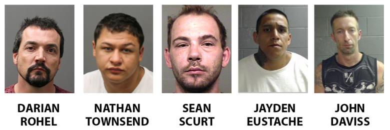 five arrested headshots darian rohel nathan townsend sean scurt jayden eustache john daviss