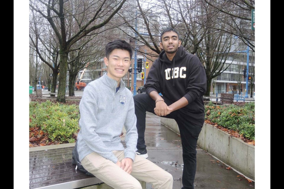 Jason Pang (left) and Ethan Rajkumar were both recipients of the Beedie Luminary scholarships, which helps students who're dealing with or who've overcome personal and financial barriers. Alan Campbell photo
