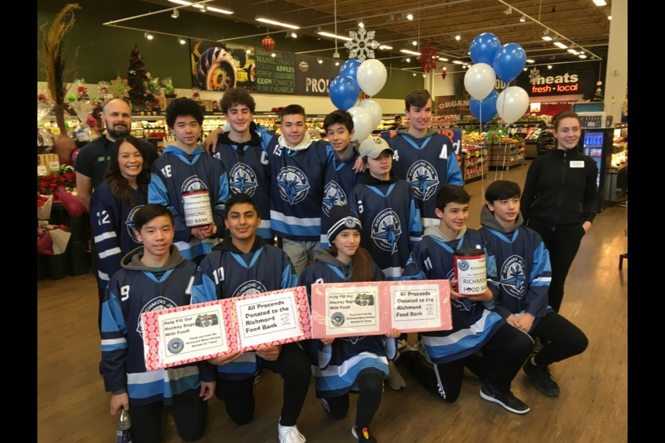 The Richmond Jets Bantam A1 Team did their annual food bank drive at Save-on Foods in Ironwood, raising a whopping $1,180 and collected 367 food items. Photo submitted