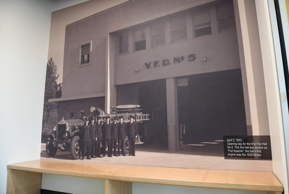 Historical images are foudn throughout the new firehall. Photo Dan Toulgoet