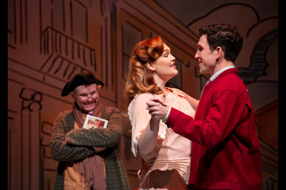Greg Armstrong-Morris, Erin Palm and Nick Fontaine in Patrick Street Productions' It's a Wonderful Life, onstage at the Anvil Centre Dec. 19 through Jan. 5.