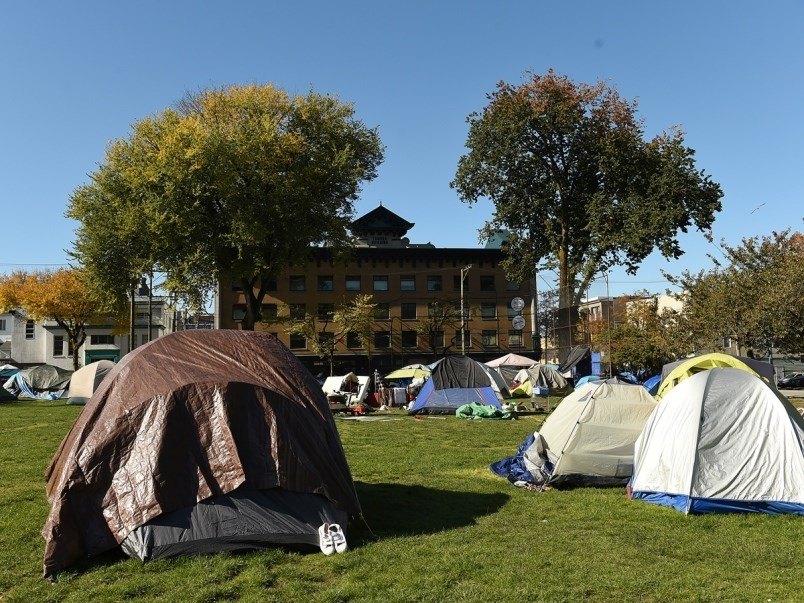 The encampment at Oppenheimer Park has been there in varying degrees for more than 18 months.