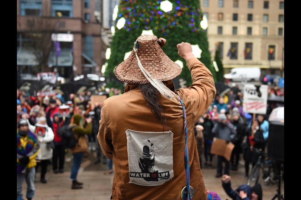 Trans Mountain pipeline protesters rallied on the steps of the Vancouver Art Gallery Monday, Dec. 16, as the Coldwater, Squamish and Tsleil-Waututh Nations begin court hearings at the Federal Court of Appeal. Photo Dan Toulgoet