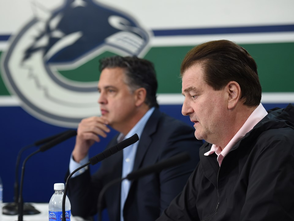 Jim Benning and Travis Green speak to the media at 2019 Canucks media day.