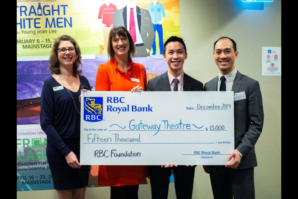 Gateway Theatre was recently awarded $15,000 from the RBC Foundation through their RBC Emerging Artists program. With this generous support, five emerging artists in the Gateway's holiday musical, Joseph and the Amazing Technicolor Dreamcoat, got the opportunity to learn and work alongside professionals throughout the rehearsal and production process. Staff from the No. 5 Rd and Cambie RBC branch presented the cheque to Gateway Theatre's Executive Director, Camilla Tibbs, and Board Chair, Diane Purvey. Photo submitted