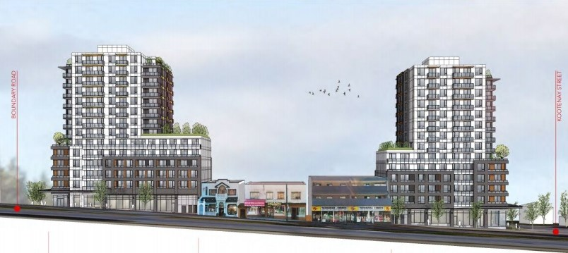 One building is proposed for 3680 East Hastings (left) and a second is proposed for 3600 East Hastings (right). Rendering BHA Architects