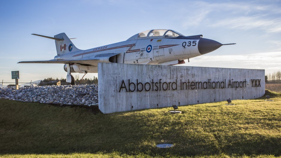 A CF-101 Voodoo plane welcomes visitors to Abbotsford International Airport. Photo Abbotsford Intern