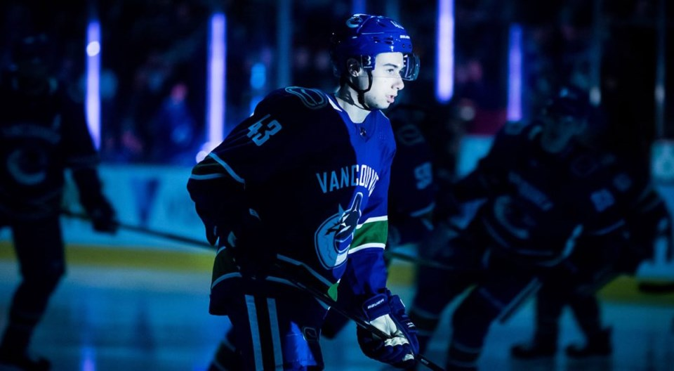 Quinn Hughes in the spotlight for the Vancouver Canucks.
