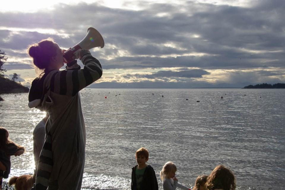 Kelly Miller of Bowen Island Tattoo Shop is the perennial organizer of the Polar Bear Swim.