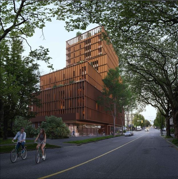 The building is envisioned for 3701 to 3743 West Broadway. Leckie Studio Architecture designed the b