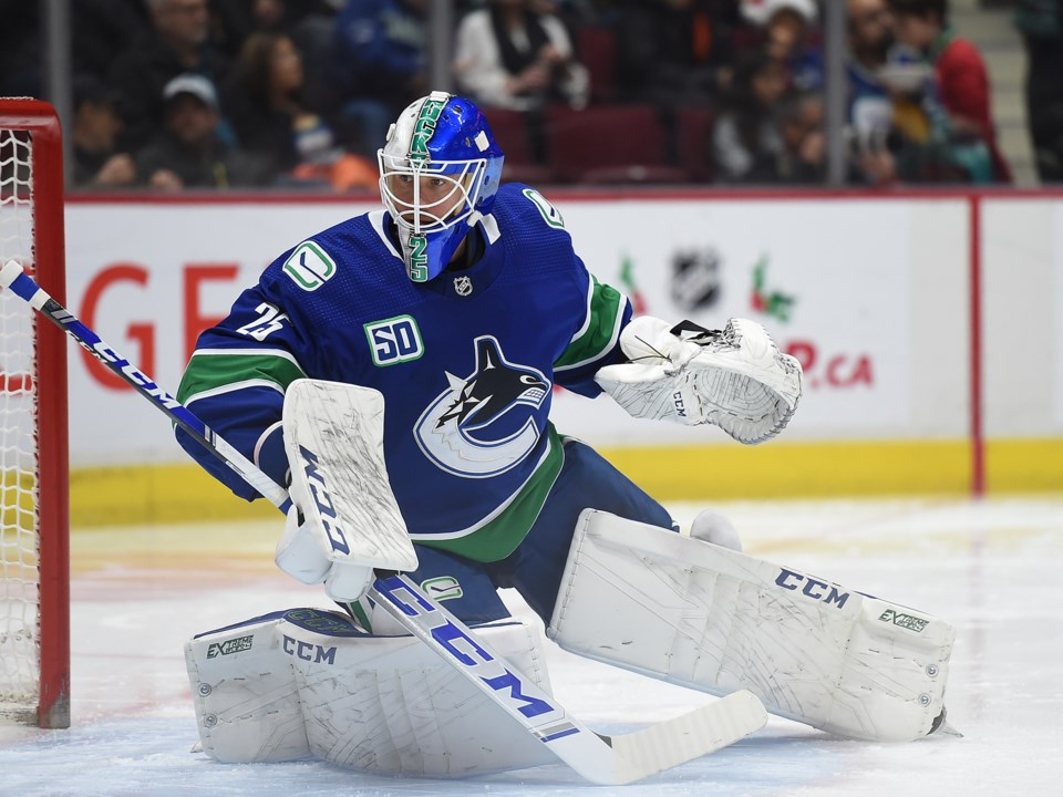 Jacob Markstrom makes a save for the Vancouver Canucks.
