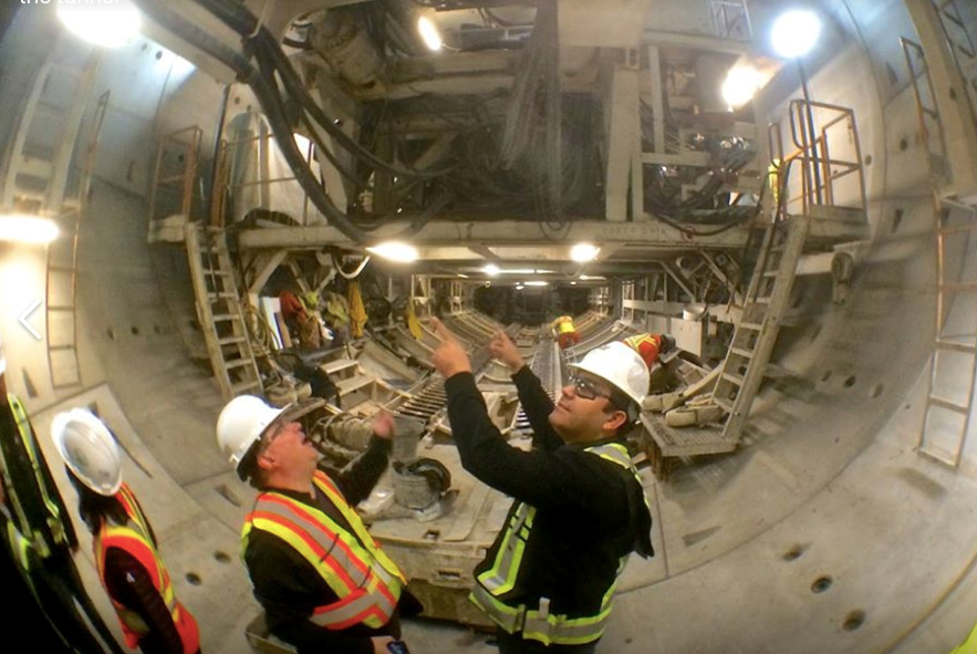 Ardalan Ebnoddin-Hamidi was an engineer who worked on the Evergreen Line tunnel. Here he is, right,