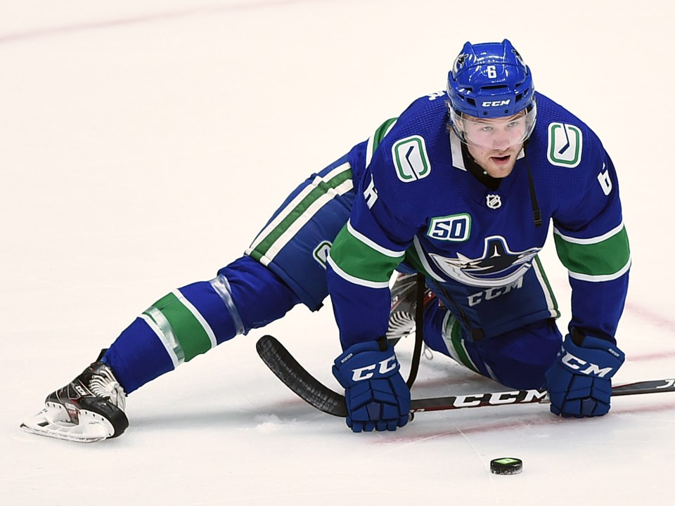 Brock Boeser stretches before a Vancouver Canucks game.