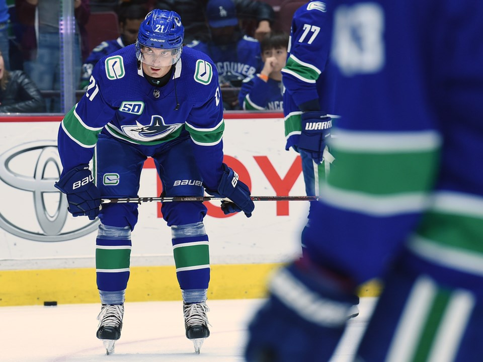 Loui Eriksson warming up for the Vancouver Canucks.