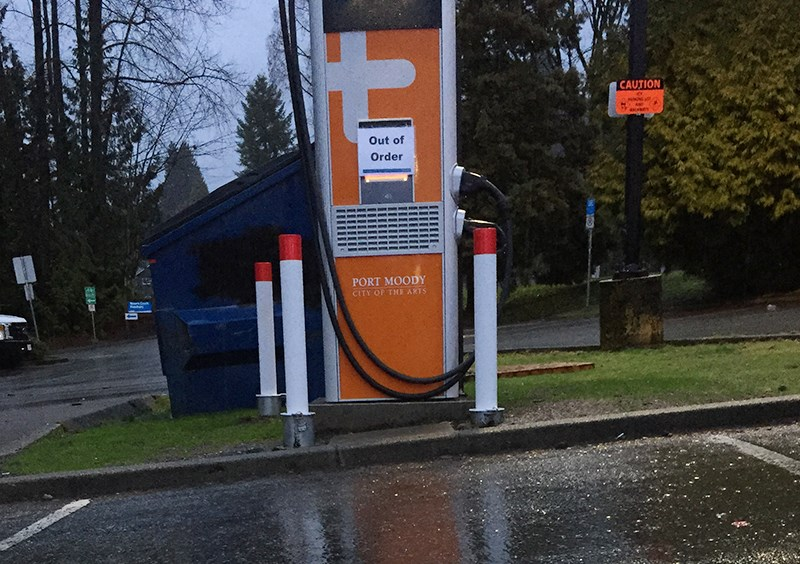 Port Moody's new fast charger for electric vehicles, installed in November, is currently out of order but when up and running will cost 26 cents a minute or $16 an hour to use.