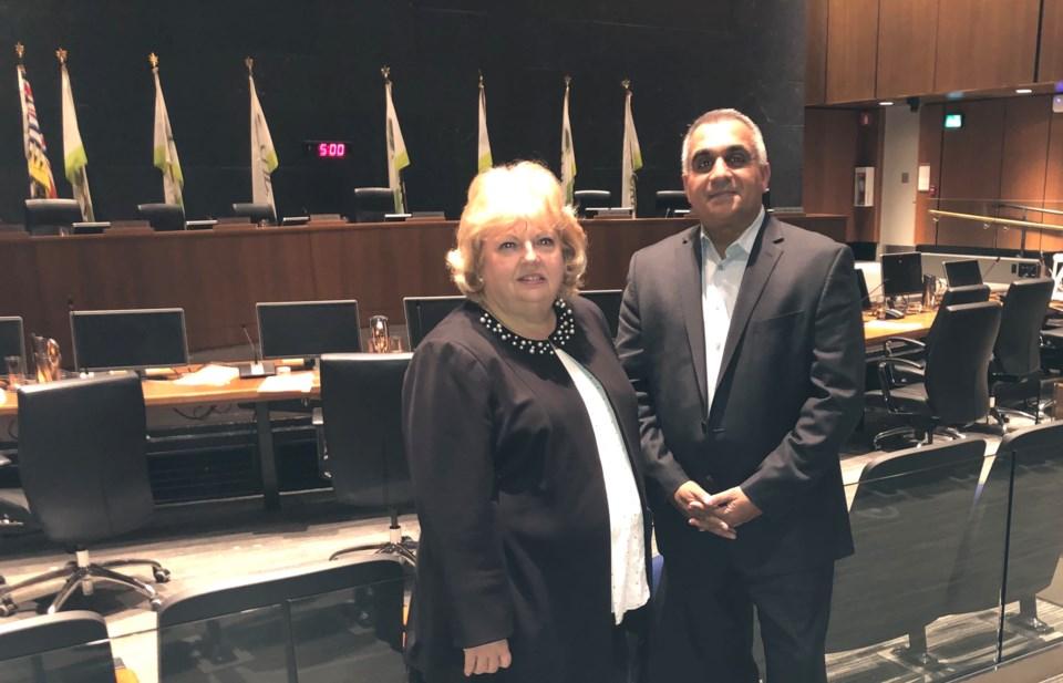 Surrey councillors Brenda Locke and Jack Hundial