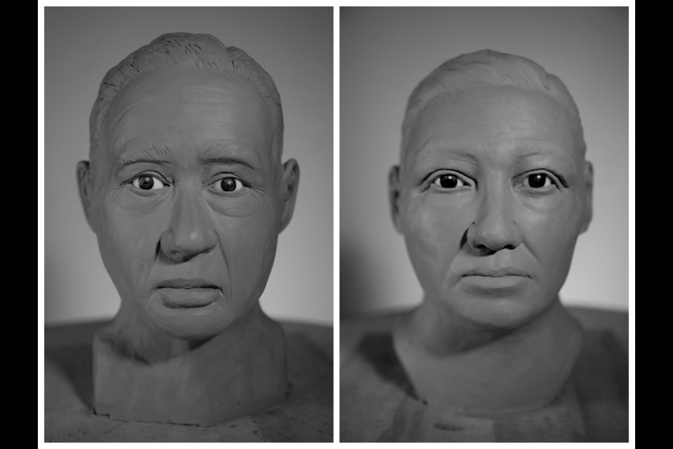 The 15 reconstructed faces included two cases from the Tri-Cities, one found in the water near Port Moody's Reed Point Marina in 1995 (left), and another found in 1998 in a forested area north of Port Coquitlam cemetery