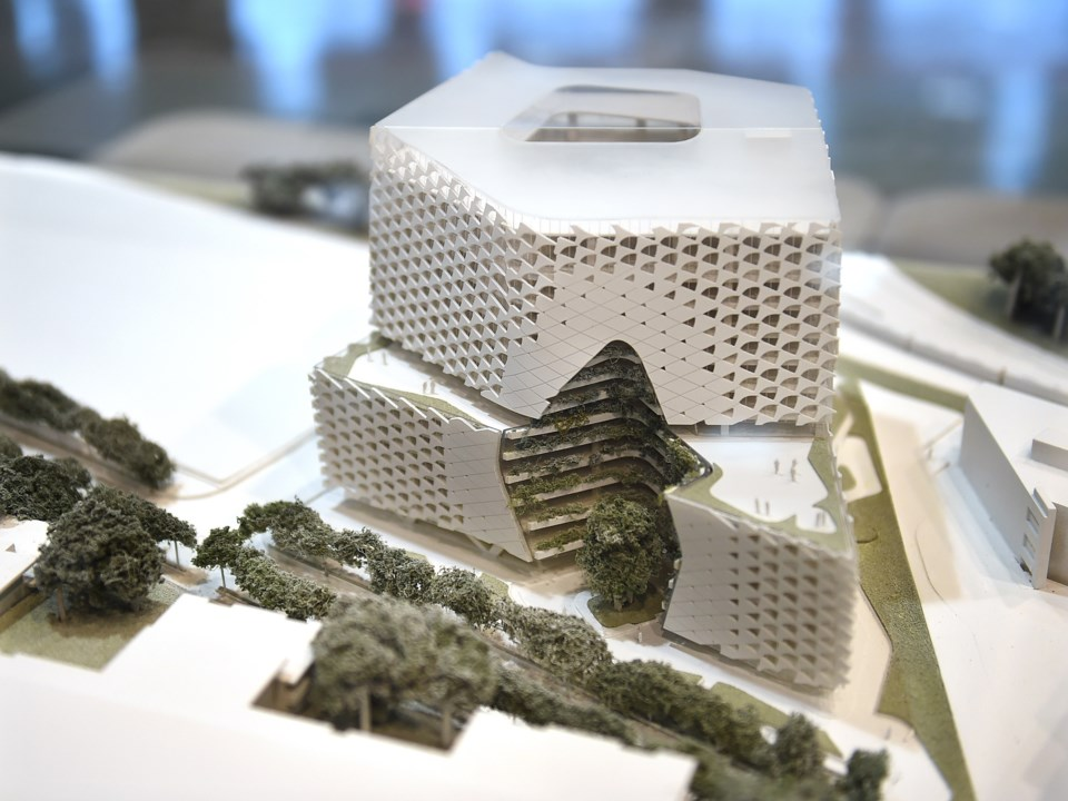 A model of the project at the Sept. 12 open house. Photo Dan Toulgoet